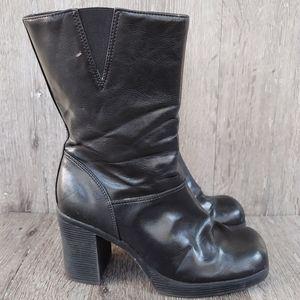 Vtg Lower East Side Chunky Black Square toe Boot 9